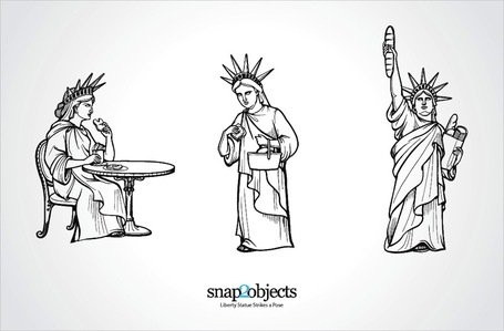 Vector Statue of Liberty in drie houdingen