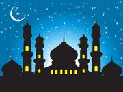 Mosque Background with Starry Blue Sky