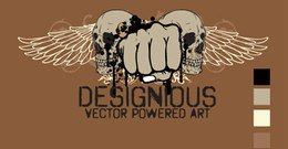 Vector T-shirt Design with Skull, Wings and Fists
