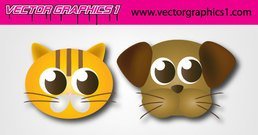 Cartoon Dog and Cat face