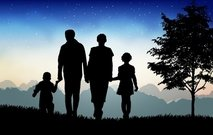Evening Time Nature with Happy Family