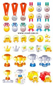 Vector material such as gold, silver bronze trophy collectio