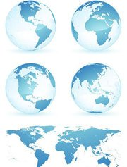 Earth globes and map