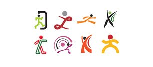 8 Action Sports People Logos Vector Set