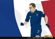 France player Franck Ribery with flag