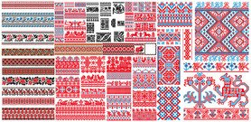 Several European classical style lace motifs pixel vector ma