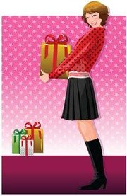 Beautiful girl smilling holding her gift