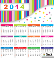 Colorful 2014 Calendar with Snowflakes