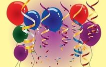 Balloons and Streamers on Happy Moment