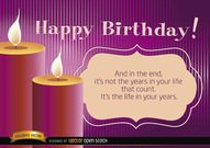 Happy birthday candles with life message
