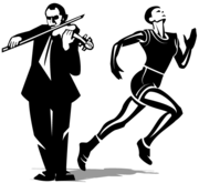 Athlete and Violinist Vector