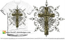 Kostenlose Vector Cross T-shirt-Design mit Floral Ornament