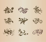 Vector Set Vintage Floral Ornament Elemente für Design