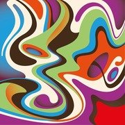 Abstract Colorful Curved Waves Background