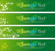 Green Floral Banners