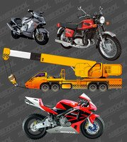 Motorcycle and crane
