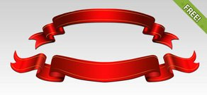 Free PSD Red Ribbons