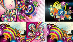 6 fun-shaped wave of color illustrations