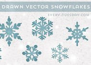 8 Hand Drawn Vector Snowflakes