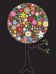 The composition of trees, colorful flowers