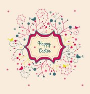 Vector Easter Card Floral Banner With Abstract Swirly Flowers And Birds