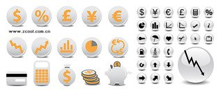 Two sets of financial circle icon