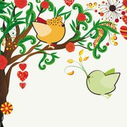 Love birds hand-painted illustrations 01