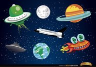 Outer space cartoon elements