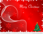 Merry Christmas Greeting Card on Red Background