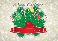 Merry Christmas Vector Banner with Red Ribbon and Christmas Ornaments