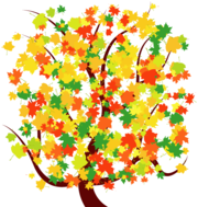 Autumn Tree with Colorful Falling Leaves Free