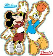 Mickey a Donald basketbal