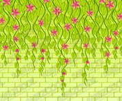 Vector flowers on the wall material
