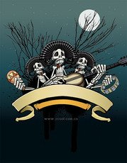 Skull bones play the guitar