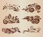 Vintage Swirl Floral Design Elements Vector Illustration Set