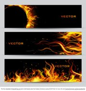 Fire Banner Vector Set