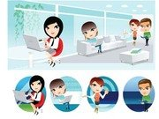 People and computer vector 2
