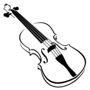 Line Art Blak and White Violin