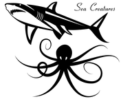 Sea Creatures Vector - Shark & Octopus