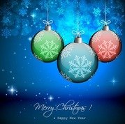 Vector Winter Background with Beautiful Christmas Balls