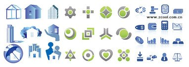 Three sets of simple graphical icons