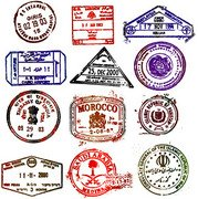 Material retro vector of foreign postmark