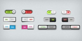 Toggle switches UI elements (PSD)