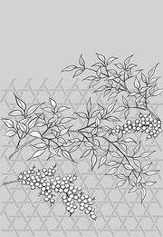 Japanese line drawing of plant flowers vector material -36 (