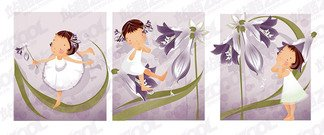 Purple lily theme (South Korea iClickart Four Seasons cute g