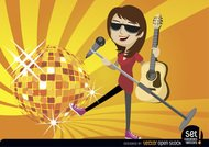 Female singer guitarist with disco ball