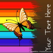 Butterfly On Colorful Stripes