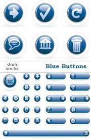 Calm blue circle icon button