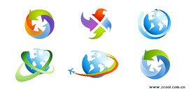 The arrow icon vector material on Earth
