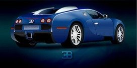 Blue Illustrate Car with Shiny Render
